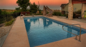 Vinyl Liner Pool with Slide and Diving Board
