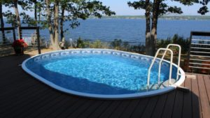 a swimming pool with chlorinated water. To keep your pool this clean, check out what you need to know about the chlorine shortage.