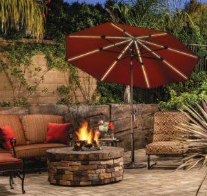 Backyard patio umbrella with lights